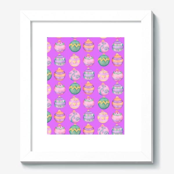 Картина «Новогодние шарики в розовом»