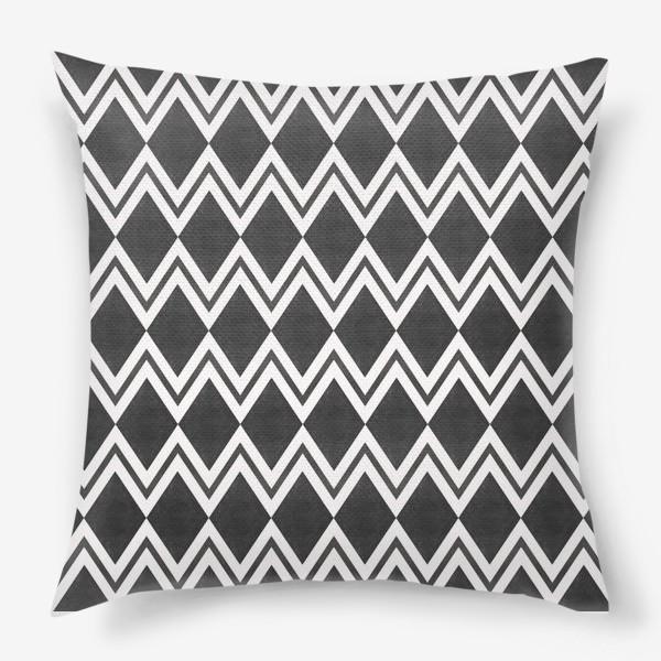Подушка «Паттерн геометрический орнамент бохо с ромбами Black Collection»