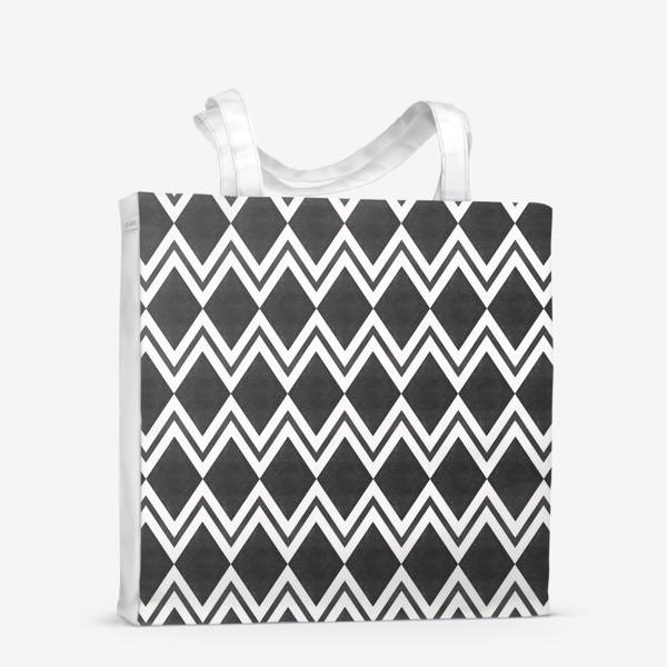 Сумка-шоппер «Паттерн геометрический орнамент бохо с ромбами Black Collection»