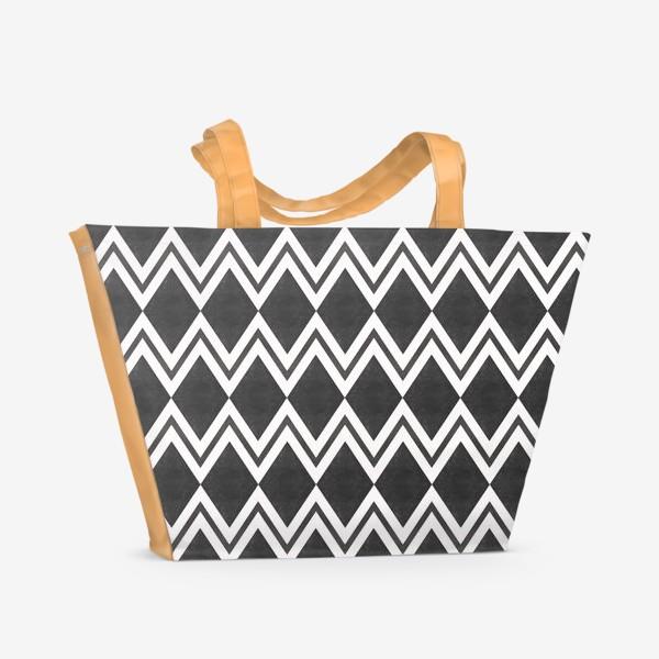 Пляжная сумка «Паттерн геометрический орнамент бохо с ромбами Black Collection»