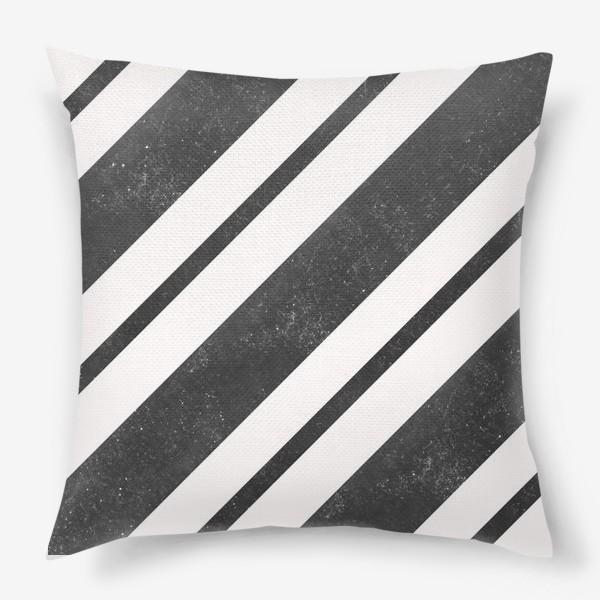 Подушка «Черные диагонали гранж Black Collection»