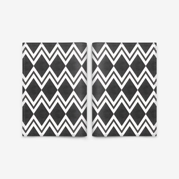 Обложка для паспорта «Паттерн геометрический орнамент бохо с ромбами Black Collection»