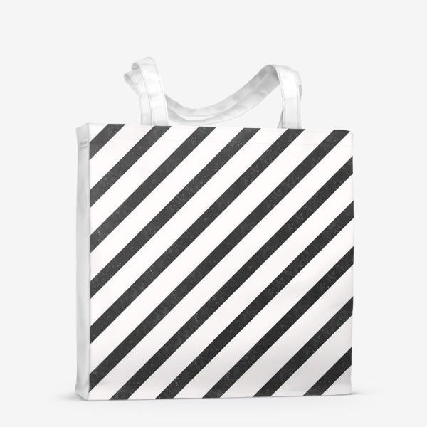 Сумка-шоппер «Черные диагонали гранж Black Collection»