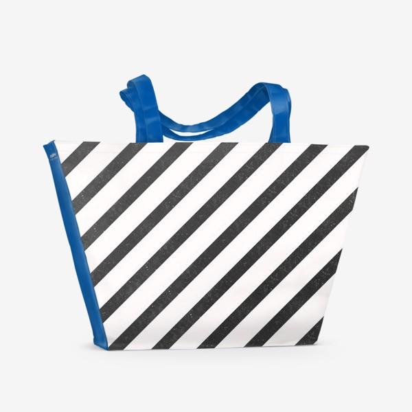 Пляжная сумка «Черные диагонали гранж Black Collection»