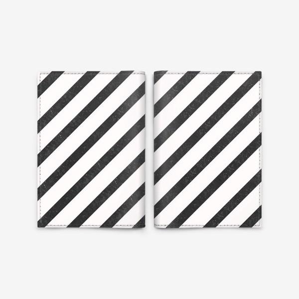 Обложка для паспорта «Черные диагонали гранж Black Collection»