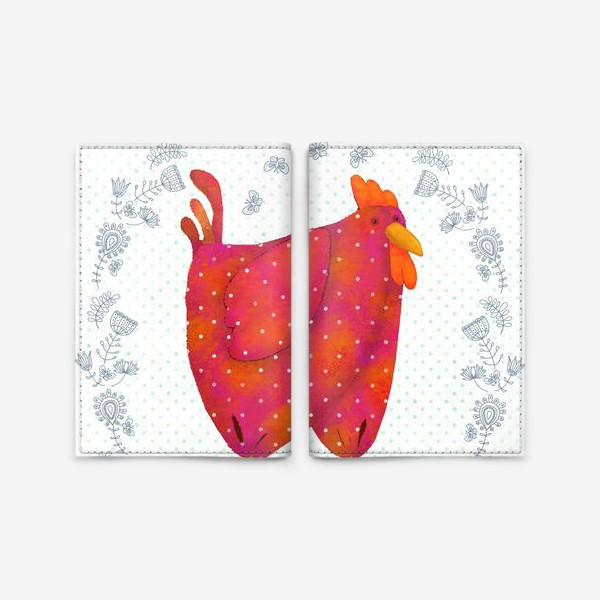 Обложка для паспорта «красный петух»
