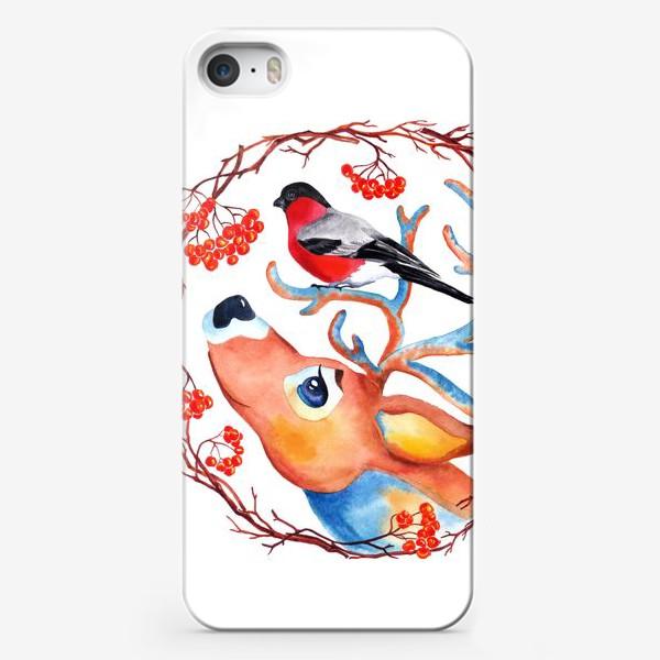 """Чехол iPhone «""""Снегирь и олень. Венок""""»"""