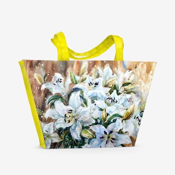 Пляжная сумка «Белые лилии»