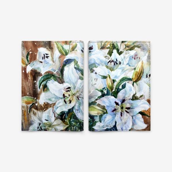 Обложка для паспорта «Белые лилии»