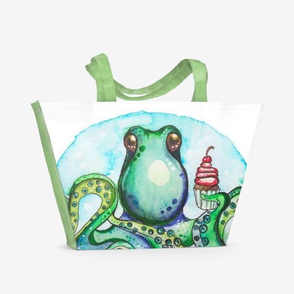 Пляжная сумка «Осьминог кушает вкусный кекс»
