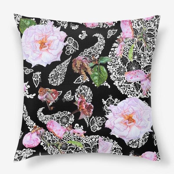 Подушка «Акварельные розы и  Paisley (огурцы)»