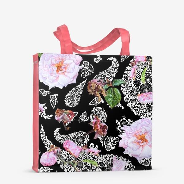 Сумка-шоппер «Акварельные розы и  Paisley (огурцы)»