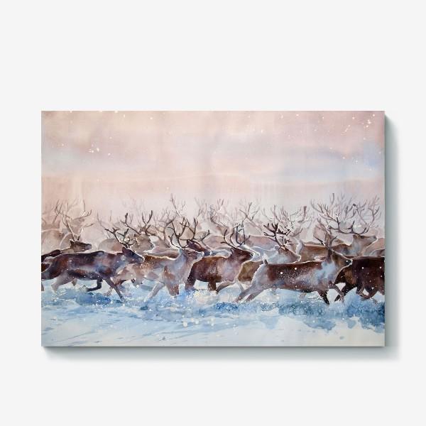 Холст «Северные олени»