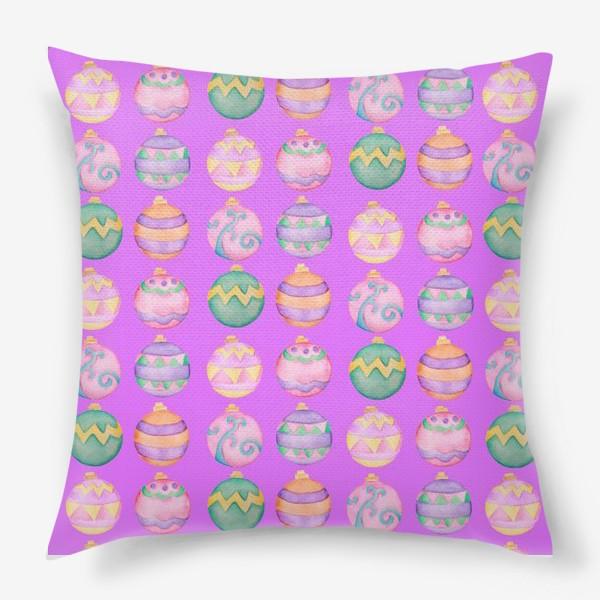 Подушка «Новогодние шарики в розовом»