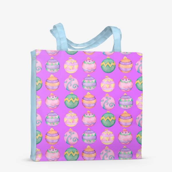 Сумка-шоппер «Новогодние шарики в розовом»