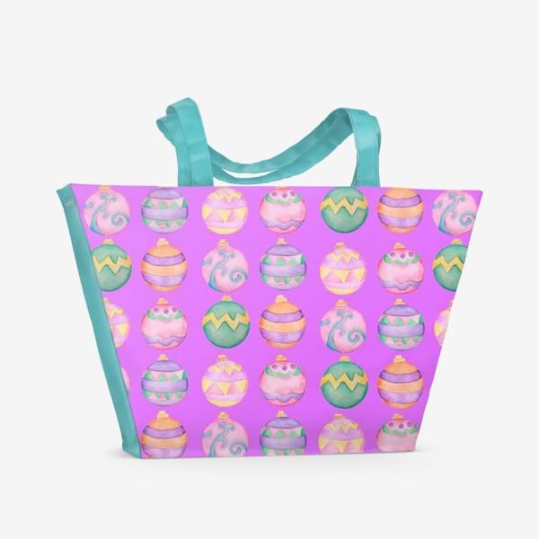 Пляжная сумка «Новогодние шарики в розовом»