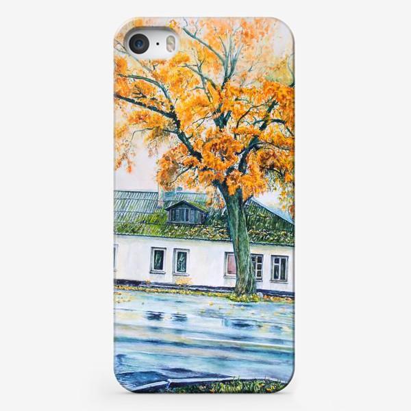 Чехол iPhone «Осенний городской пейзаж акварелью»