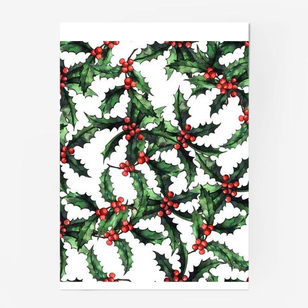Постер «Акварельный Рождественский паттерн »