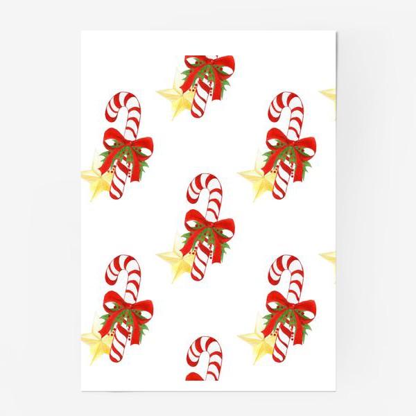 Постер «Рождественский паттерн с леденцами и звездами»
