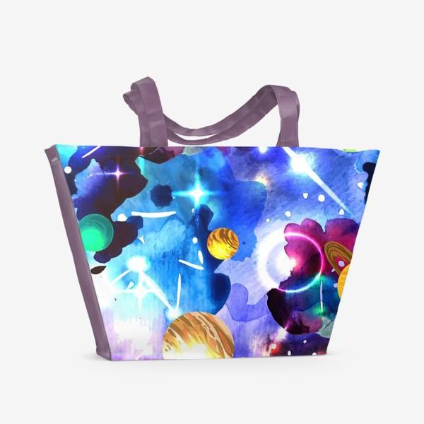 Пляжная сумка «акварельный космос»