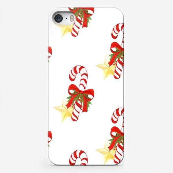 Чехол iPhone «Рождественский паттерн с леденцами и звездами»