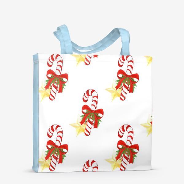 Сумка-шоппер «Рождественский паттерн с леденцами и звездами»