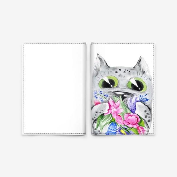 Обложка для паспорта «Котик с цветами на 8 марта»