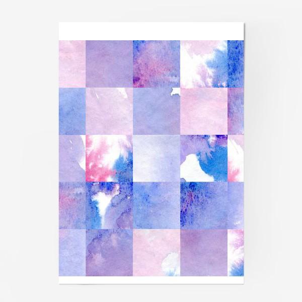 Постер «Акварельная мозаика в сине-фиолетовых тонах»