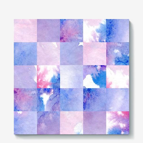 Холст «Акварельная мозаика в сине-фиолетовых тонах»