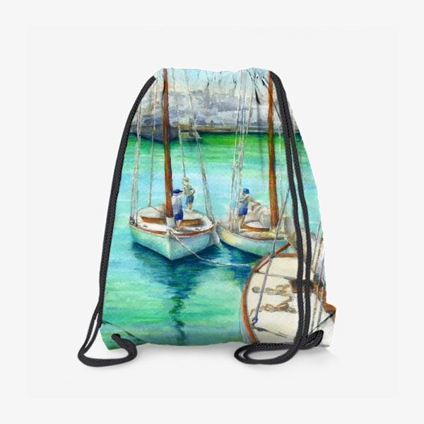 Рюкзак «Море, лодки.»