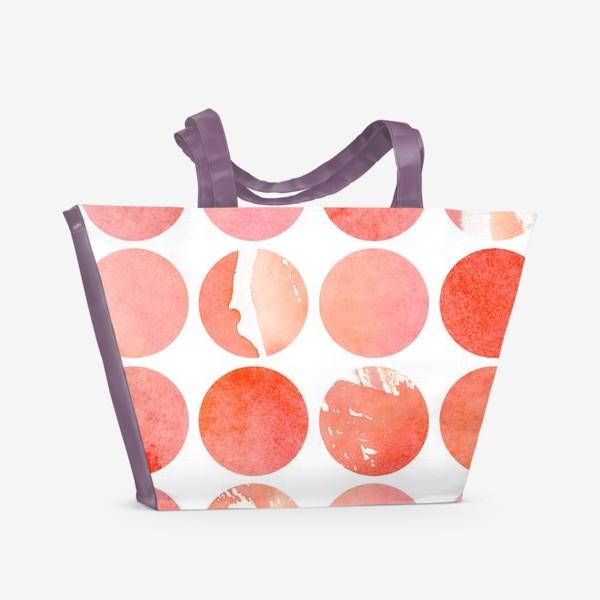 Пляжная сумка «Акварельный паттерн в розовых и коралловых тонах»