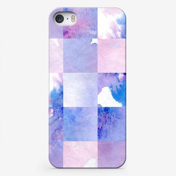 Чехол iPhone «Акварельная мозаика в сине-фиолетовых тонах»