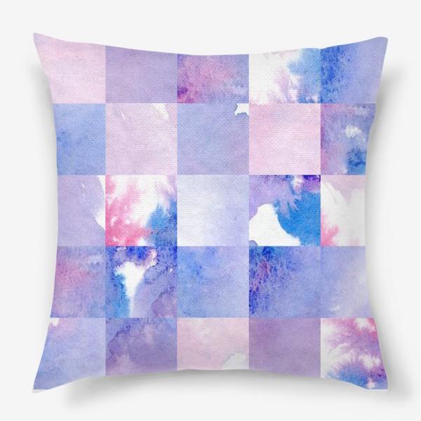 Подушка «Акварельная мозаика в сине-фиолетовых тонах»