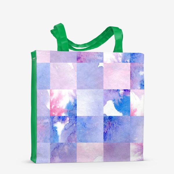 Сумка-шоппер «Акварельная мозаика в сине-фиолетовых тонах»
