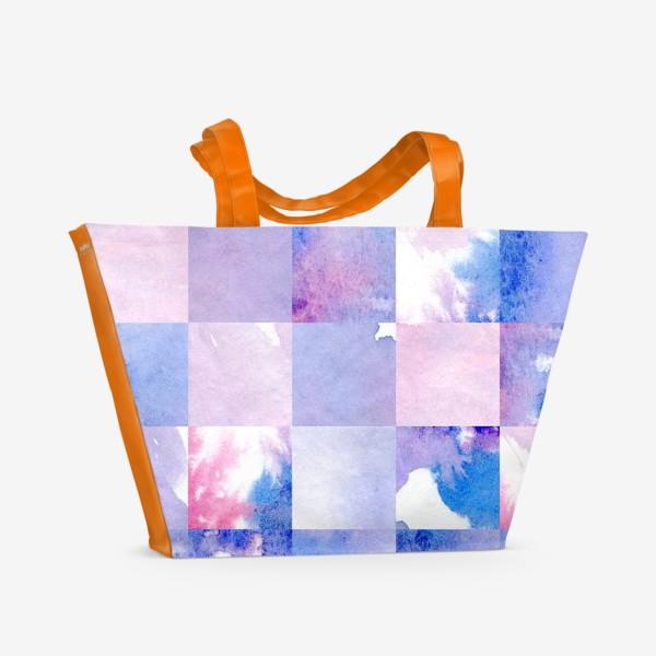 Пляжная сумка «Акварельная мозаика в сине-фиолетовых тонах»