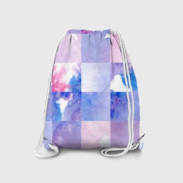 Рюкзак «Акварельная мозаика в сине-фиолетовых тонах»