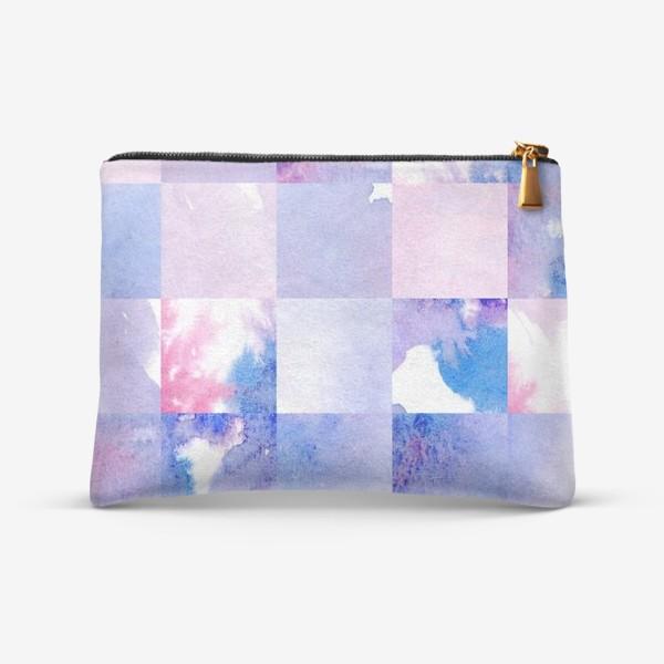 Косметичка «Акварельная мозаика в сине-фиолетовых тонах»