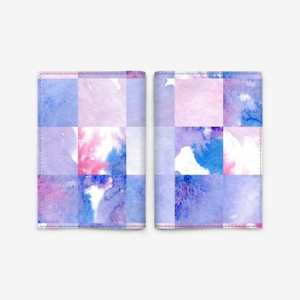 Обложка для паспорта «Акварельная мозаика в сине-фиолетовых тонах»