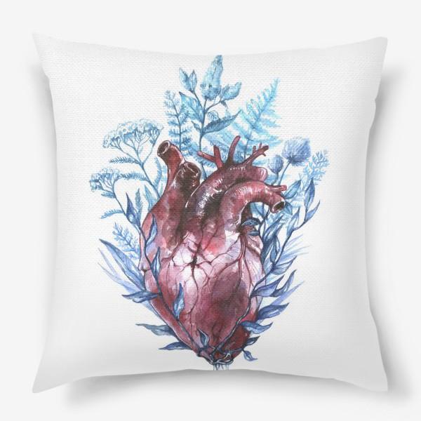 Подушка «Сердце и травы»