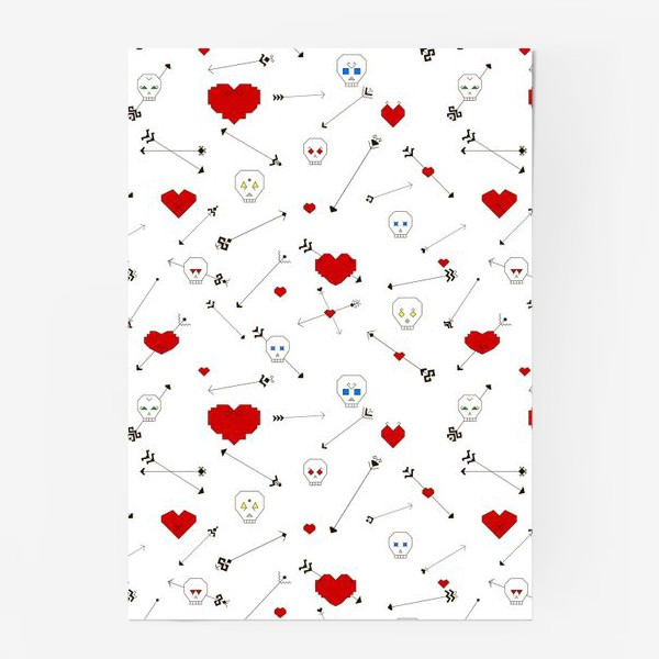 Постер «Черепа с сердцами и стрелами»