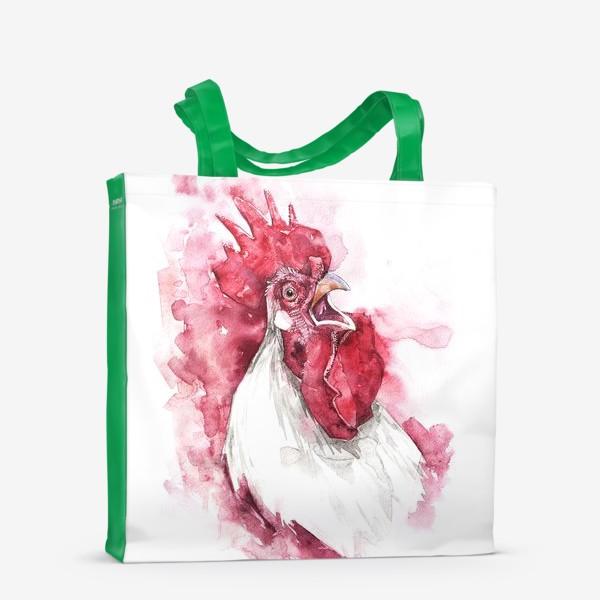 Сумка-шоппер «Петух на красном фоне»