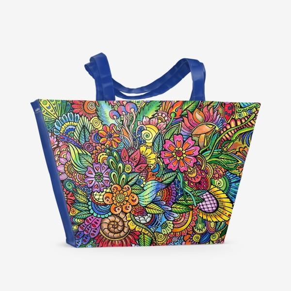 Пляжная сумка «Яркий паттерн, цветы»