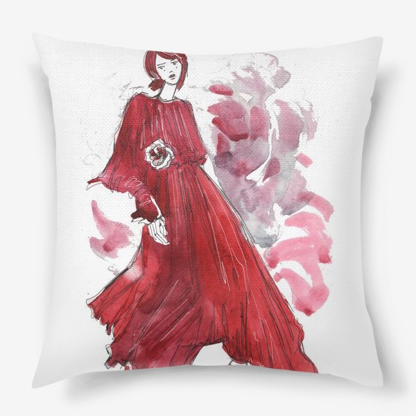 Подушка «Девушка в красном. Fashion illustration»