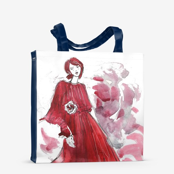 Сумка-шоппер «Девушка в красном. Fashion illustration»