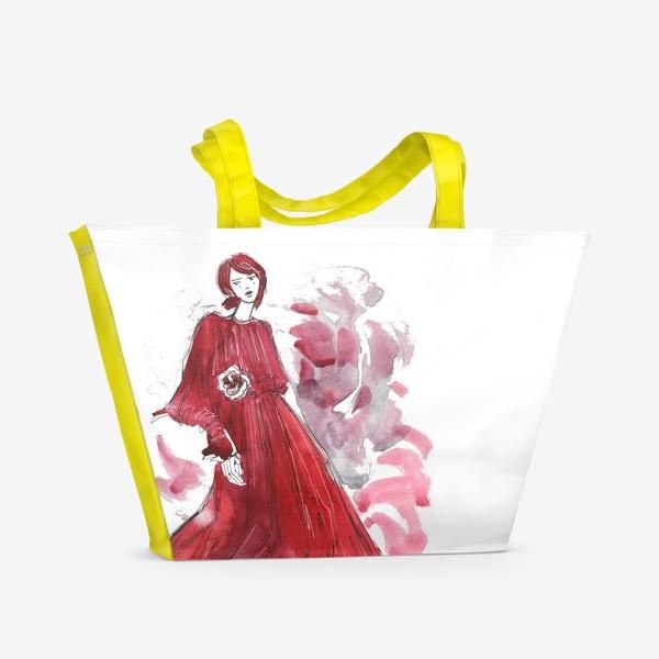 Пляжная сумка «Девушка в красном. Fashion illustration»