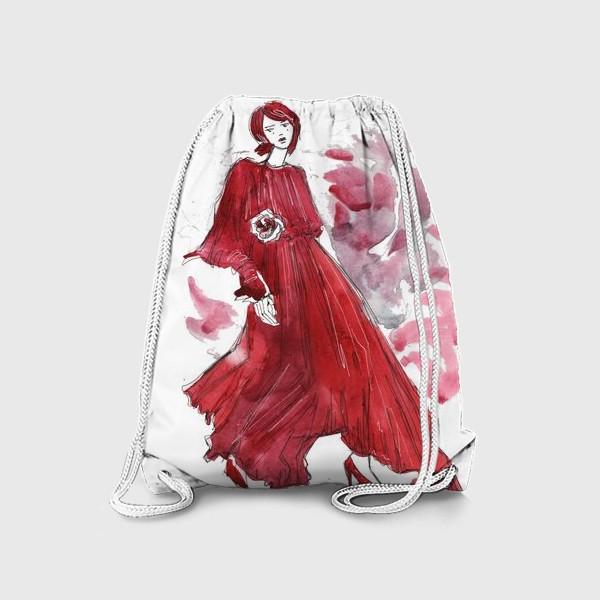 Рюкзак «Девушка в красном. Fashion illustration»