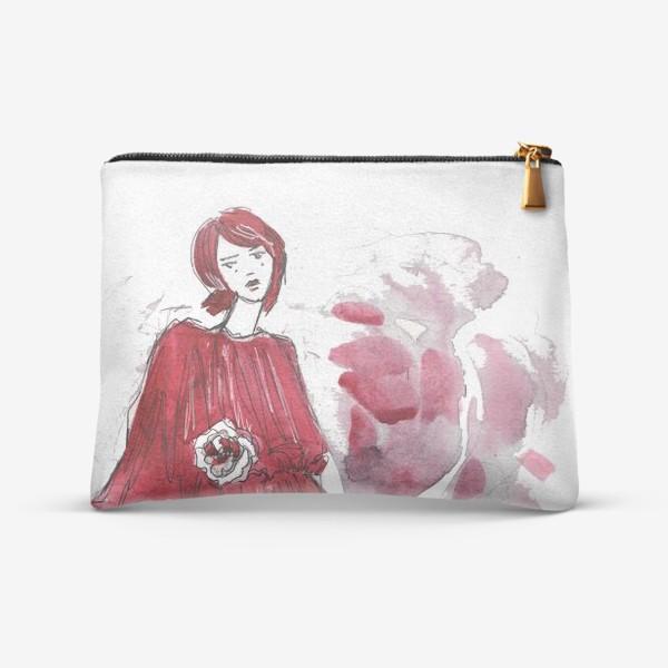 Косметичка «Девушка в красном. Fashion illustration»