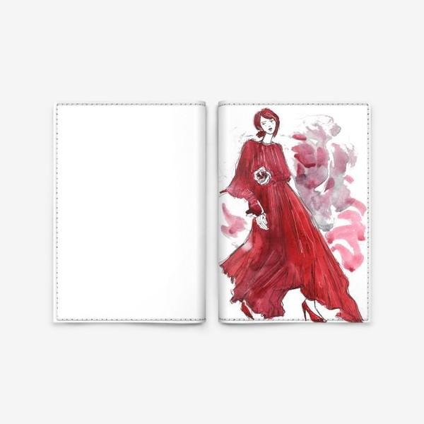 Обложка для паспорта «Девушка в красном. Fashion illustration»