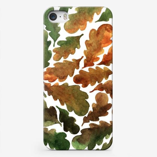 Чехол iPhone «Дубовые листья акварель в осенних тонах»