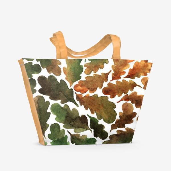 Пляжная сумка «Дубовые листья акварель в осенних тонах»